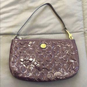 Purple coach small purse/ large wristlet